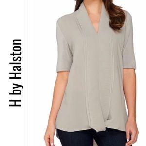 H by HALSTON Chiffon Drape front top L